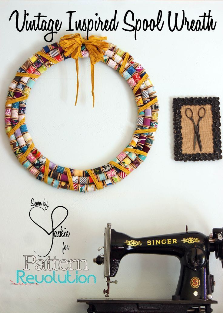 Fabric Scrap wooden spool wreath tutorial!