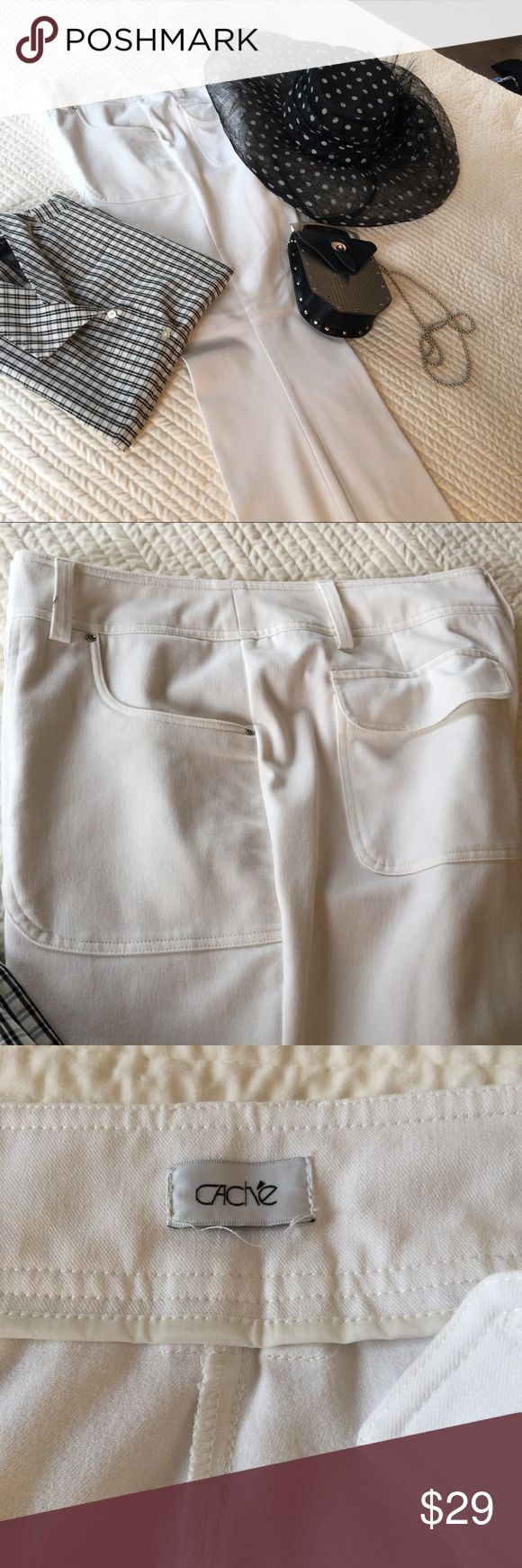 Cache white flare pant Flare pant with pretty front and rear pocket design with stretch fabric.  Well made and nicely weighted fabric.  Belt loops.  The size is not marked and I'm not sure why but they are Size 14. Cache Pants