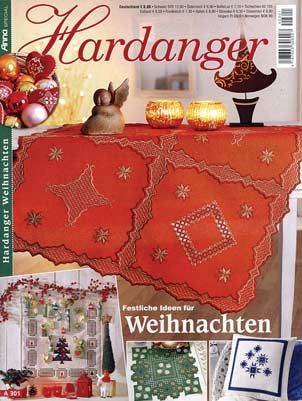 This is Annas Special Hardanger A301 issue. It is packed with incredible patterns suitable for gift giving or holiday decorating. There are over 50 projects including runners, ornaments, tabletoppers, pillows, doilies, curtains, and gift ideas. A majority of the deisgns are suitable for Christmas. The magazine is in German, however, an experienced Hardanger embroiderer should be able to figure out the patterns from the wonderful photographs and pull out charts. 31 pages. #stitching…