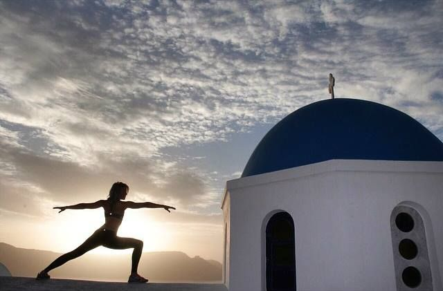 Awesome view for a morning outdoor yoga session, don't you think? Go active in #Santorini
