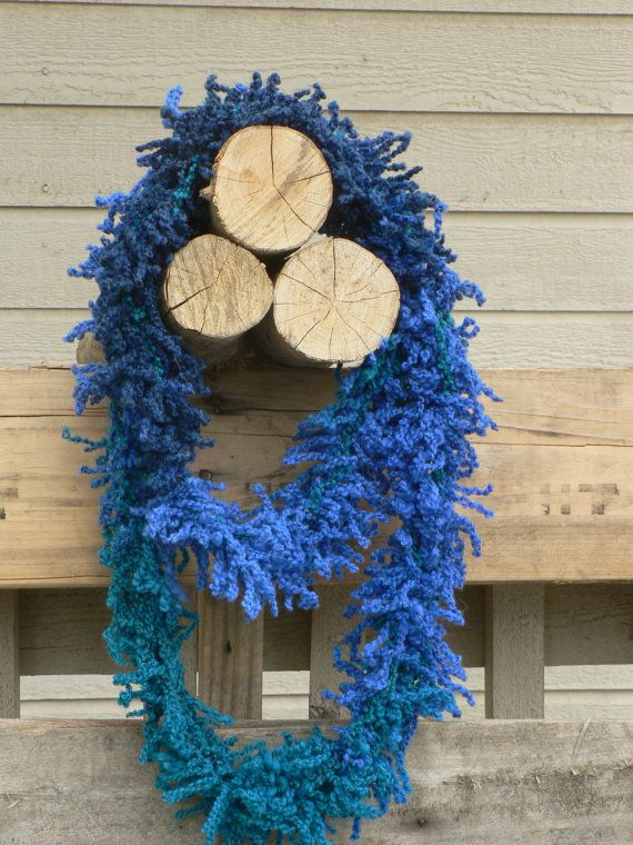 Fizzy Blue Arm Knit Infinity Scarf by WarmButterfly on Etsy