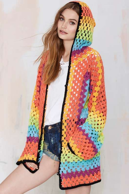 Nasty Gal brand #crochet #fashion granny square rainbow hoodie
