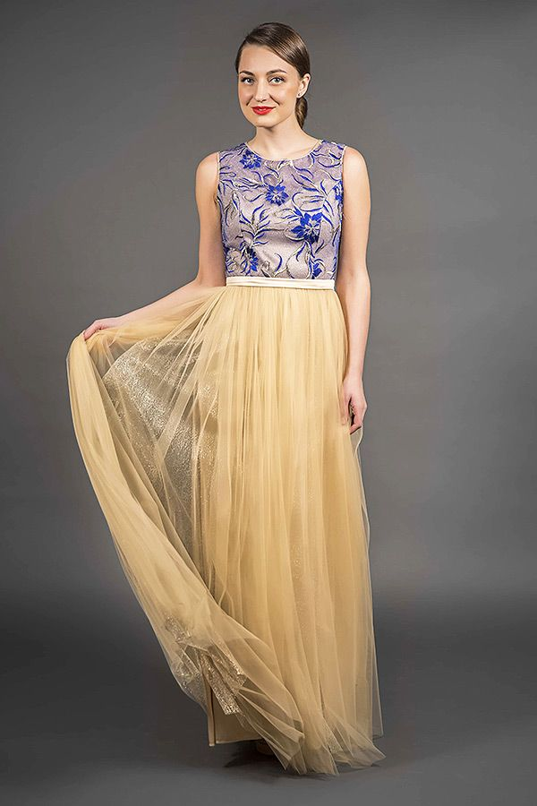 Navy And Gold Princess Cut Tulle Evening Gown