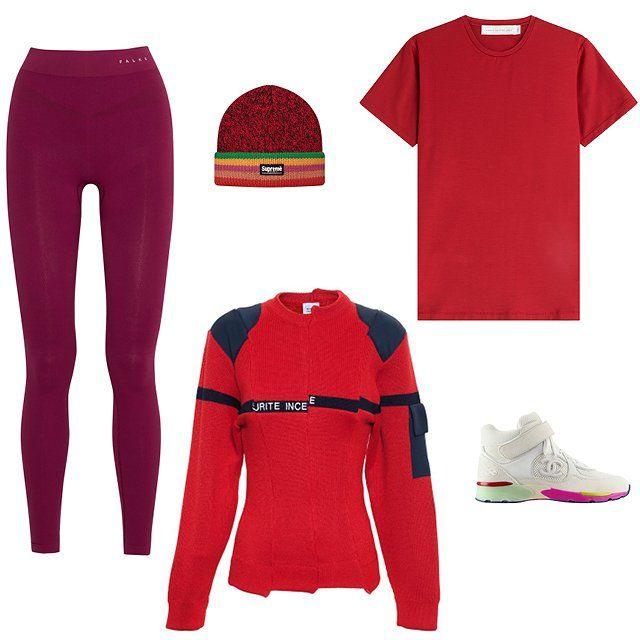 FALKE Ergonomic Sport System stretch-jersey leggings, $115, net-a-porter.com; Supreme Ragg wool beanie in red, $36, supremenewyork.com; Victoria Beckham Denim cotton T-shirt in red, $220, stylebop.com; Chanel sneaker, price upon request, for information: chanel.com; Vetements Sapeurs Pompiers jumper, $930, brownsfashion.com