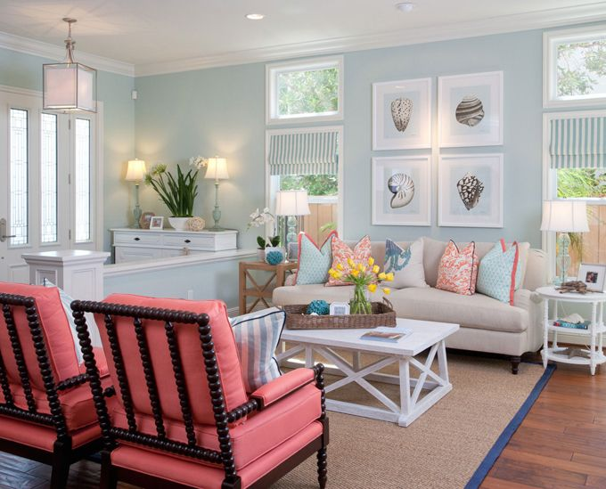 Coastal style with seashell prints and plenty of coral and teal colors from  the Gulf of  Beige Living RoomsLiving  328 best Coastal Style images on Pinterest   Beach  Coastal style  . Coastal Living Room Decorating Ideas. Home Design Ideas