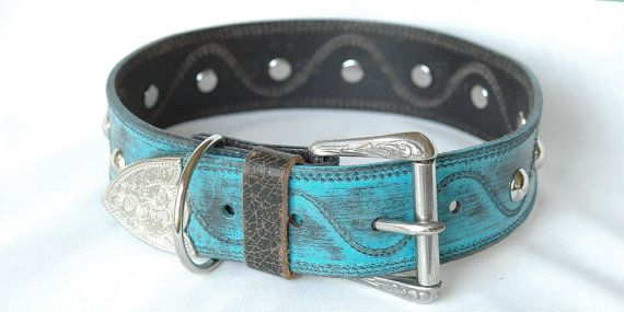 Western Full Grain Leather Dog Collar Turquoise by Studio1070