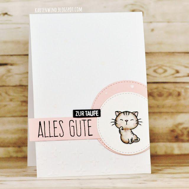 Kartenwind: Taufkarte mit My Favorite Things Clear Stamps und Klartextstempel, Stampin Up Embossingfolder | Karte zur Taufe Glückwunsch Cat MFTStamps Card