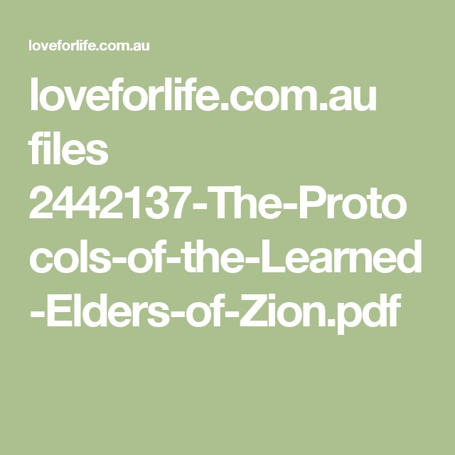 The Protocols Of The Elders Of Zion Pdf Download