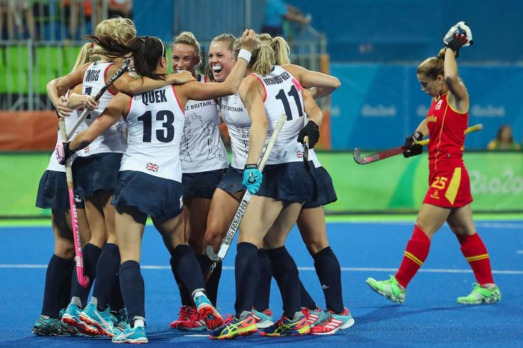 GB knocks out Spain:    Great Britain's women hockey team celebrates after defeating Spain 3-1 in their quarter-final match.     -  2016 Rio Olympics: Highs and lows from Day 10