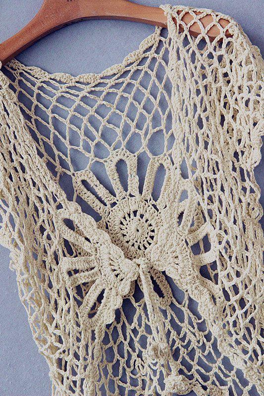 crochet bolero jacket women lace summer by Tinacrochetstudio