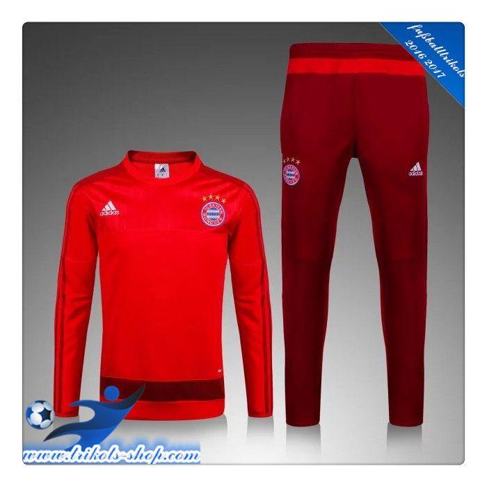 Neues FC Bayern München Trainingsanzug Rot 2015 2016 -02 Bedrucken