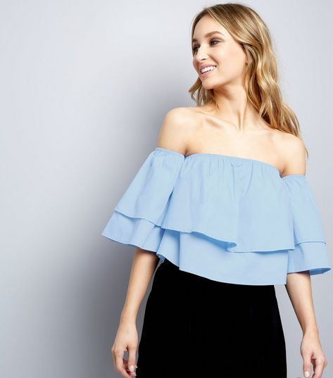 Cameo Rose Double Layer Frill Bardot Top | New Look