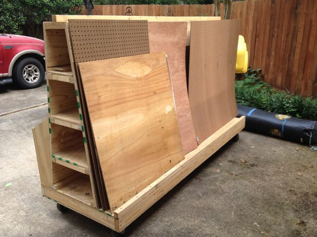 Mobile lumber storage rack dust hood the garage for Lumber yard storage racks