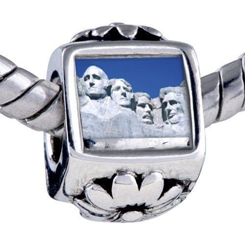 Pugster Silver Plated Photo Bead Travel-Mount Rushmore Photo Flower European Charm Beads Fits Pandora Bracelet Pugster. $12.49. Bracelet sold separately. It's the photo on the flower charm. Hole size is approximately 4.8 to 5mm. Fit Pandora, Biagi, and Chamilia Charm Bead Bracelets. Unthreaded European story bracelet design