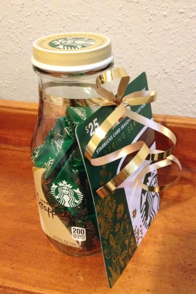Made this for Mother's Day but could also be great for teacher gift! Reused a Starbucks frappuccino bottle filled it with Andes mints and tied a Starbucks gift card on it with a gold ribbon:) cheap and easy to make!