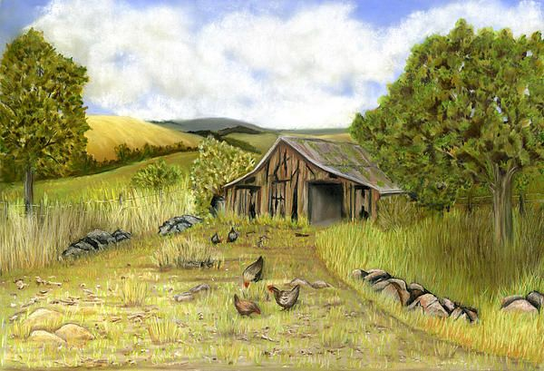 "Painted from my own imagination after seeing some old barn photos.  Soft Pastel on Pastelmat 22""x15"" Fine Art Prints and Greeting cards available."