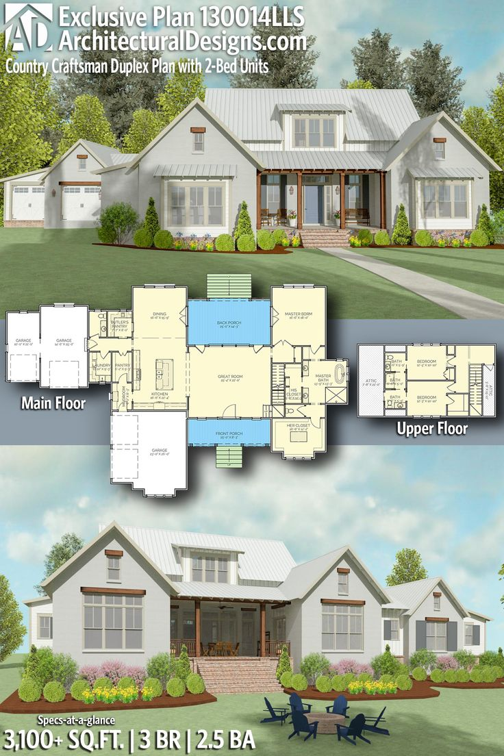 Architectural Designs Exclusive Farmhouse House Plan 130014LLS | 4 beds | 3 baths | 3,000+ Sq.Ft. Don't need the extra garages. – Annie-Kim Rochon