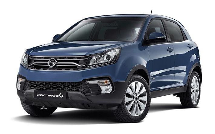 Télécharger fonds d'écran SsangYong Korando C, En 2017, le Lifting, SUV, voitures neuves, les voitures coréennes, SsangYong
