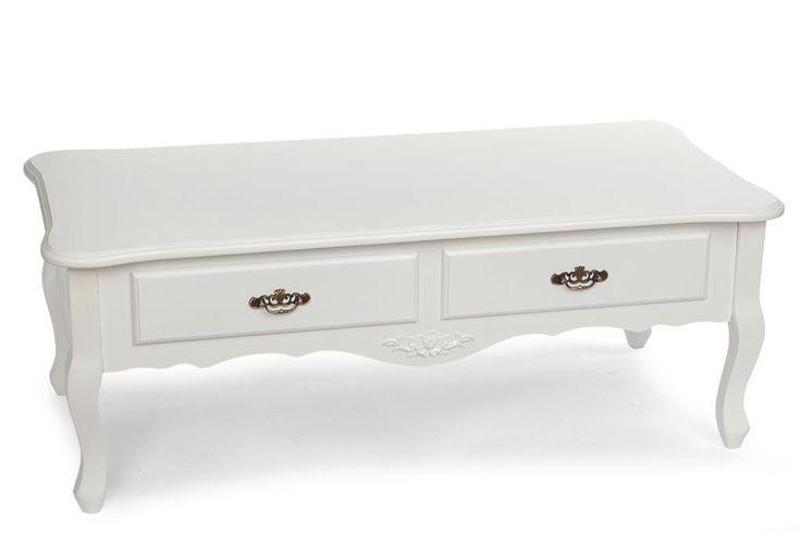 Dřevěný konferenční stolek s 2 šuplaty a ozdobnýmikovovými úchyty, zdoben v přední části vyřezávanou