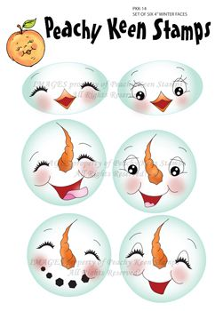 PKK-14 Set of Six 4″ Winter Faces: Peachy Keen Stamps | Home of the original clear, peach-tinted, high-quality whimsical face stamps.