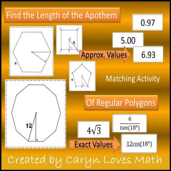 First step to finding the Area of Regular Polygon is to find the length of the apothem. Matching Activity: Finding the Length of the Apothem This is a 3-way matching activity. Students use trig or special right triangles to find the measure of the apothem.