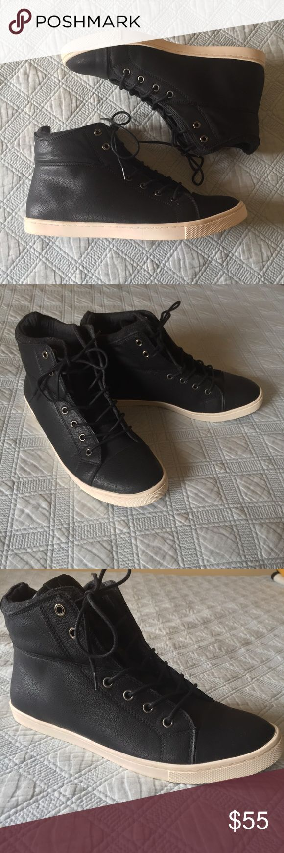 Aldo Black Leather Hi-Top Sneakers Aldo black leather Hi-top Sneakers. In like new condition....literally worn once. No scuffs. Does not include box. US size 10.5 Aldo Shoes Sneakers