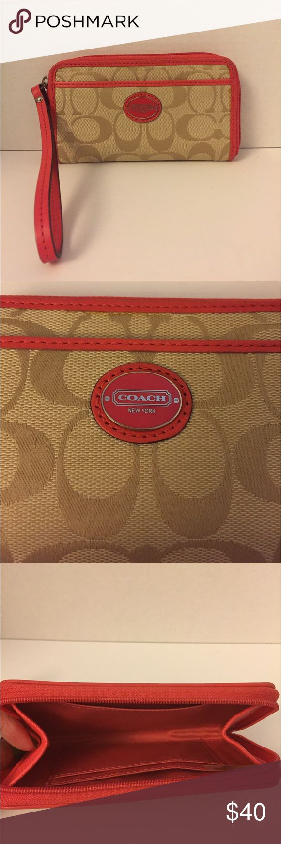 Coach Legacy Mini Tanner Phone Wrislet Coach Legacy Mini Tanner Phone Wristlet.  Gently Used - Does Have Some Dirt on the Corners (See Pictures).  Holds my iPhone 6.  Pocket on the outside and 2 Credit Card Slots on the Inside plus and additional Pocket also on the Inside.   Comes from a Smoke Free/Pet Free Home. Coach Bags Clutches & Wristlets