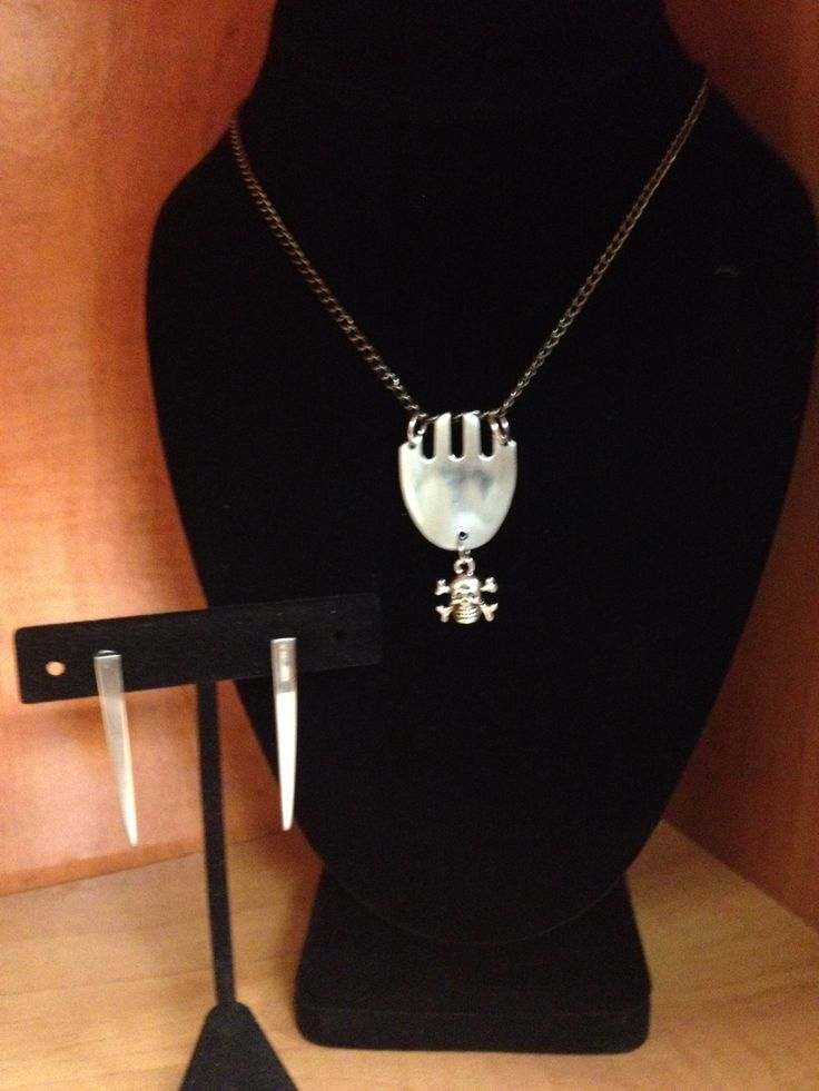 Upside down fork pendant with skull charm and fork tine earrings