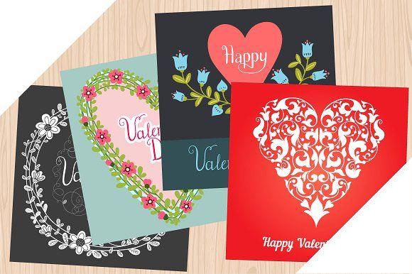 Happy Valentine's Day cards by Samira on @creativemarket