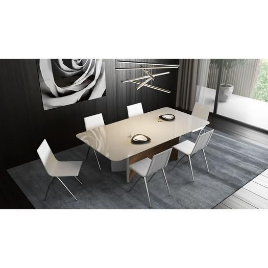 The Camden Dining Table sports a highly sculptural design  from the  dual tapered half moon pedestal base to the rounded corners of the  chamfered glass top 39 best Dining Tables   GratsDecor com images on Pinterest  . Half Moon Glass Dining Table. Home Design Ideas