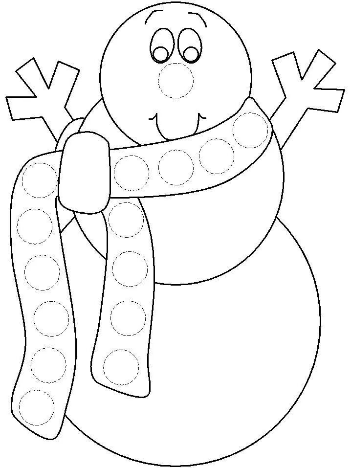 Snowman coloring page for dabber dot paint.