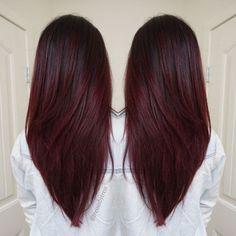 V Cortes de pelo para el pelo largo - rojo oscuro violeta ciruela, Ombre Balayage, de Cabellos Invierno 2016 - 2017