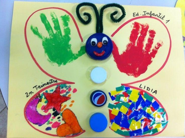 Tapa álbum escolar mariposa. Trabajar los diferentes materiales con los niños