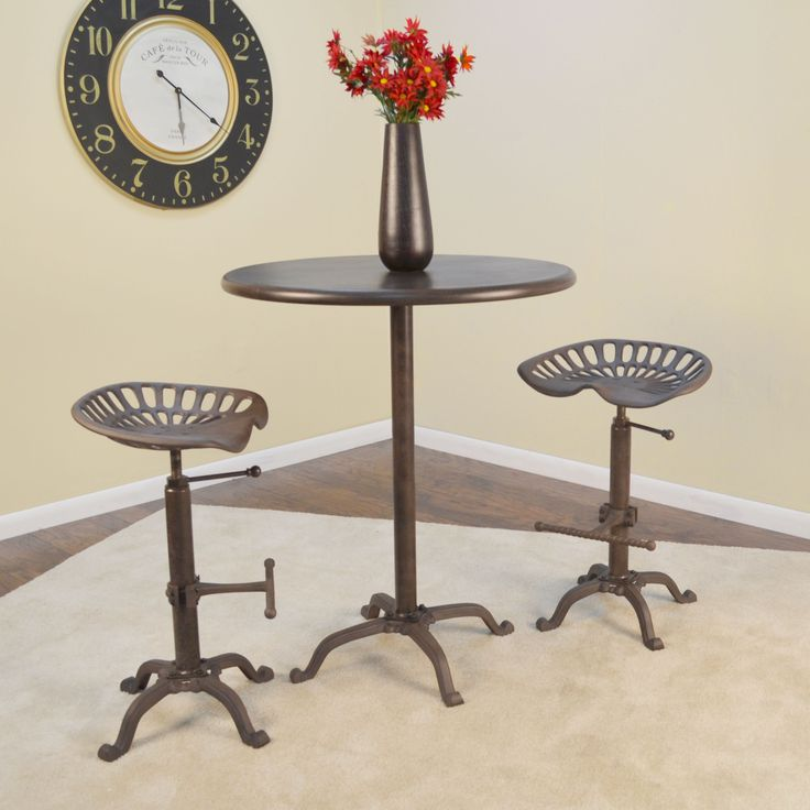 Carolina Selma Brown Metal/Cast Iron 30 Inch Round Bar Table (Industrial)