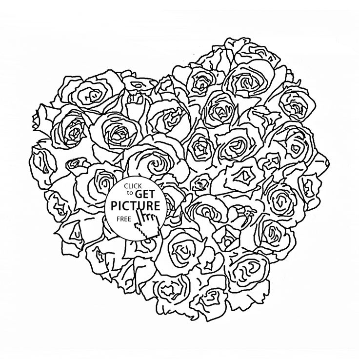 hearts and flowers coloring pages for kids | 29 best images about Flowers coloring pages on Pinterest ...