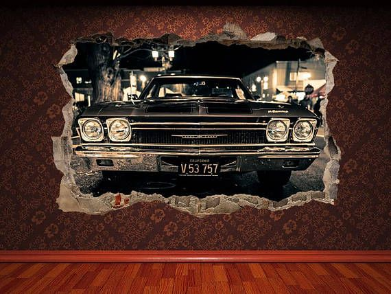 3d Wall Decal Print Old Car Classic Cars Chevrolet Impala Muscle Cars Vintage Garage Wall Art Vinyl Sticker Poster Decal Print Decor Prints In 2021 3d Wall Decals Print Decals Classic Cars