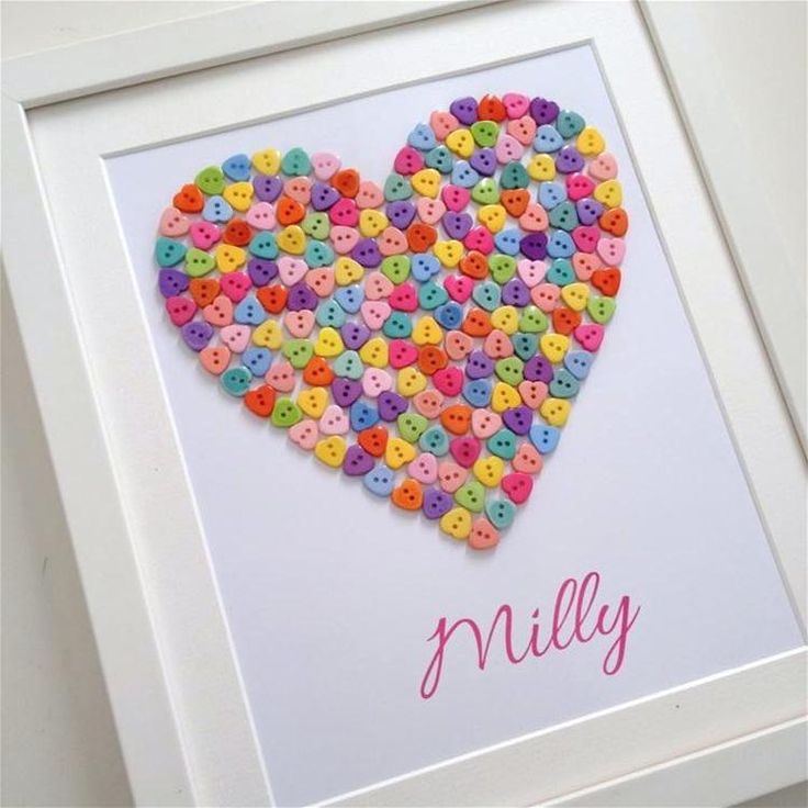 Christening gift  Button art Button heart Personalised gift