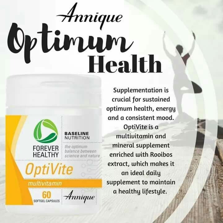 OptiVite contains 12 essential vitamins and 9 minerals with added salmon oil for its omega 3 benefits and Rooibos extract for its antioxidant properties. It also helps to increase energy levels as well as cell growth and repair.  www.leonique.co.za
