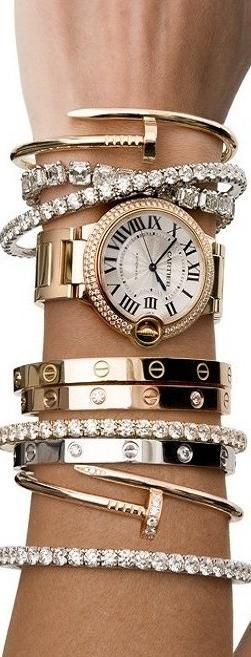 A combination of diamond, gold and platinum bracelets from Cartier for one lucky wrist.