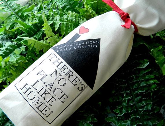 """""""There's No Place Like Home!"""" Personalized Wine Bag - Housewarming Gift"""