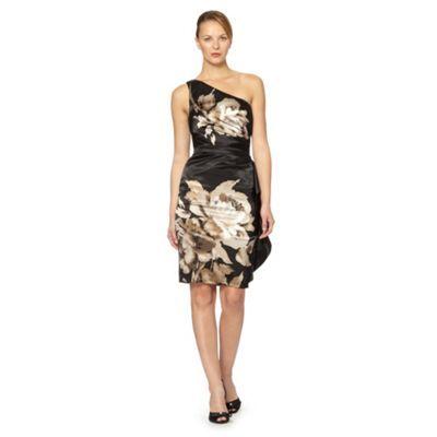 Debut Black one shoulder floral satin dress- at Debenhams.com