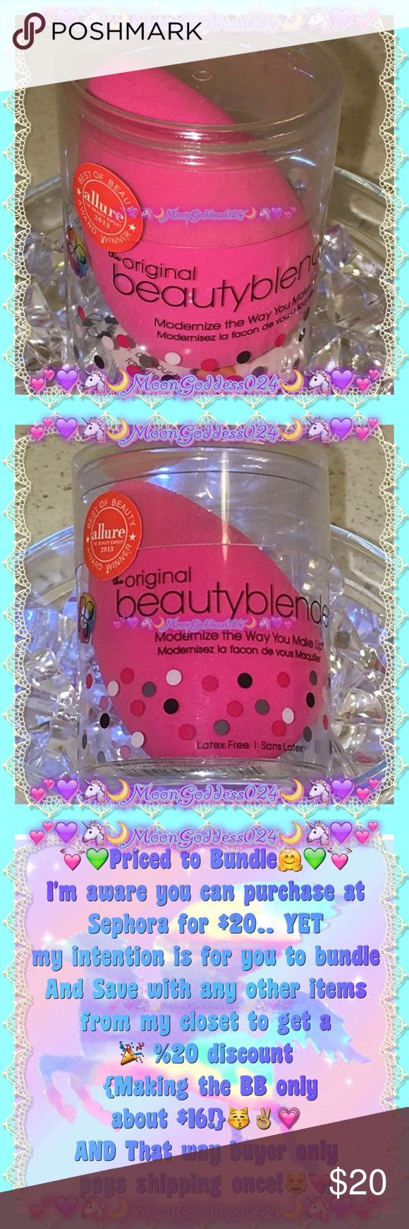 💖Original Pink Beauty Blender💖2016 Allure Winner 💜🎀Beauty Blender🎀💜%100%AUTHENTIC  💙Unlike traditional sponges,a BB deposits pigment & lifts off excess to give streak-free, even coverage.Curving allows you to roll foundation over your skin,which gives a more natural finish than patting on with a square/triangular sponge💖Dampen & you're good to go💋Just smooth on foundation & concealer(Also excellent for applying creamy blush, bronzer & highlighter)AND unlike many sponges that fall…