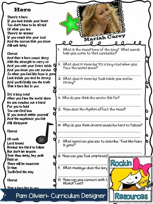Free Idea:  The Best Way to Teach Poetry Blog Post-  Learn  about analyzing lyrics for a poetry lesson.  Designed by Rockin Resources