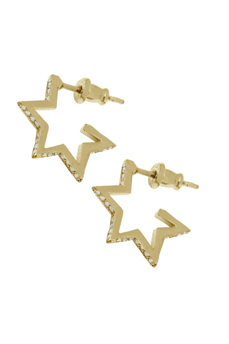 Crystal Star Hoops Gold
