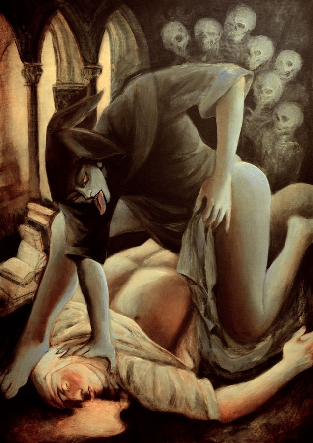 the great book-keeper ghost rapes a templar, acrylic on canvas 100x70cm