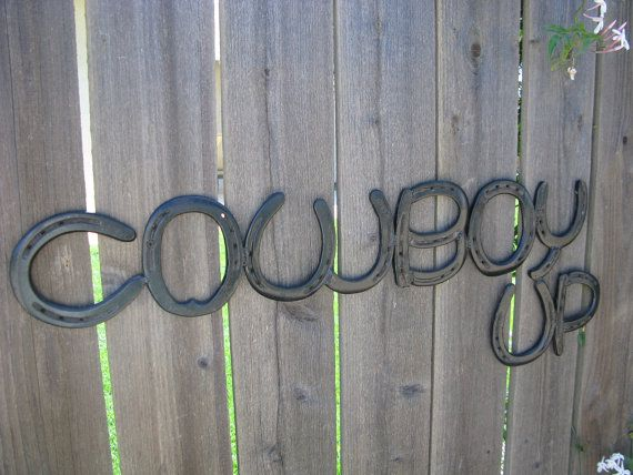 Cowboy Up Recycled Horse Shoe SignBlack Finish by willcapps,