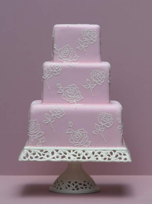 Brush Embroidered Roses wedding  cake
