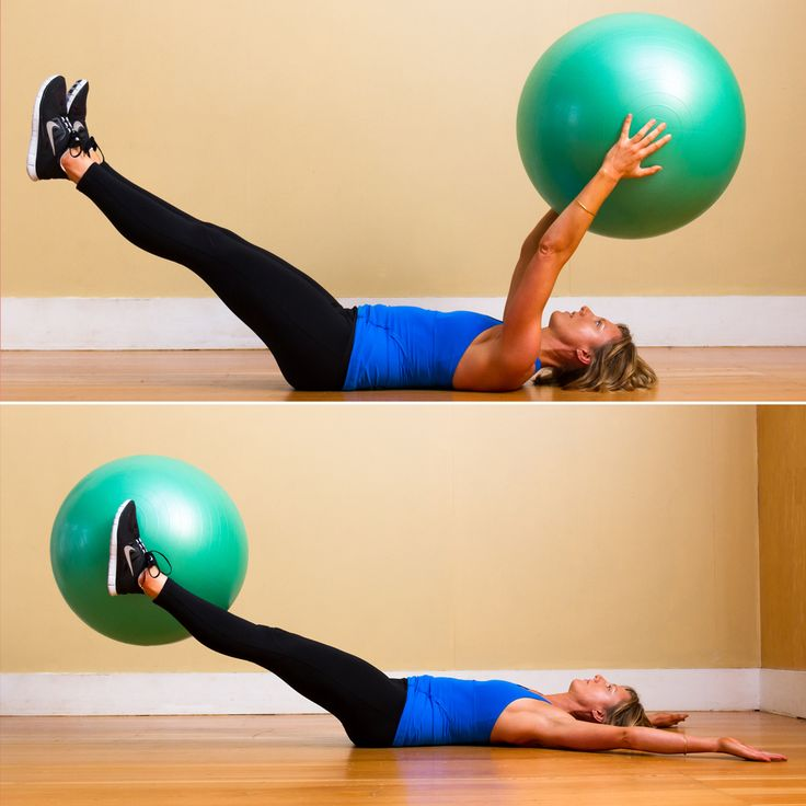 Ball Pass: Lie on your back, holding an exercise ball above your