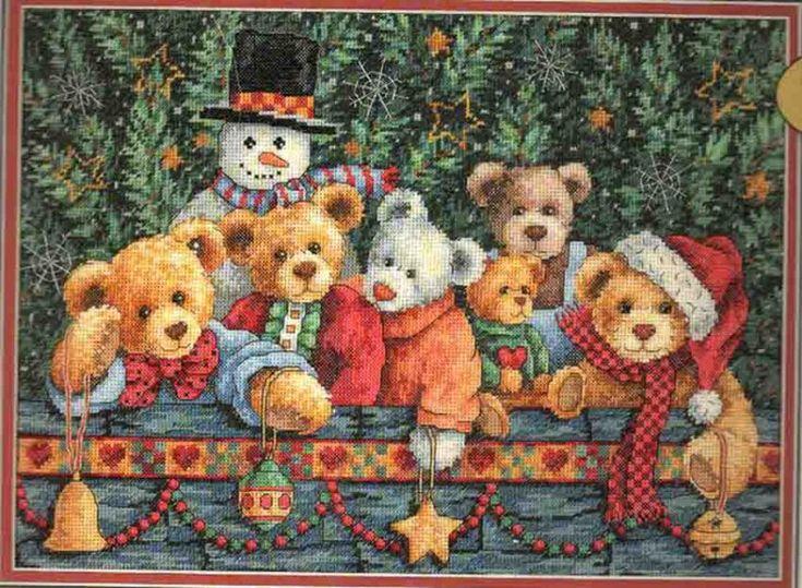 Набор для вышивания Dimensions 8761 Beary Christmas Рождество Мишки Тедди