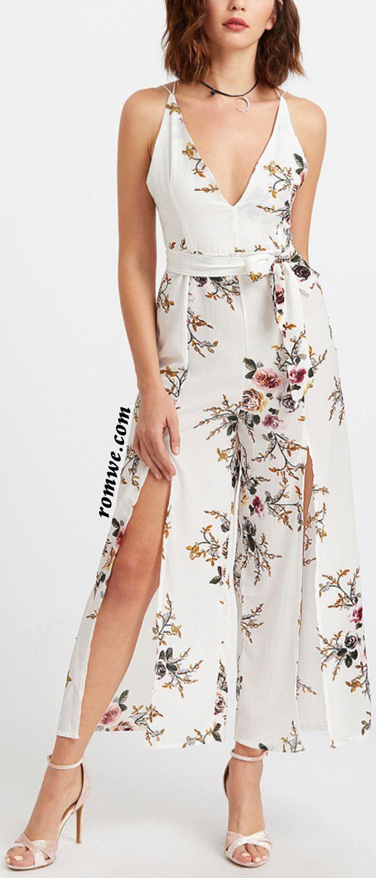 Floral Print Deep V Neck Self Tie Split Jumpsuit